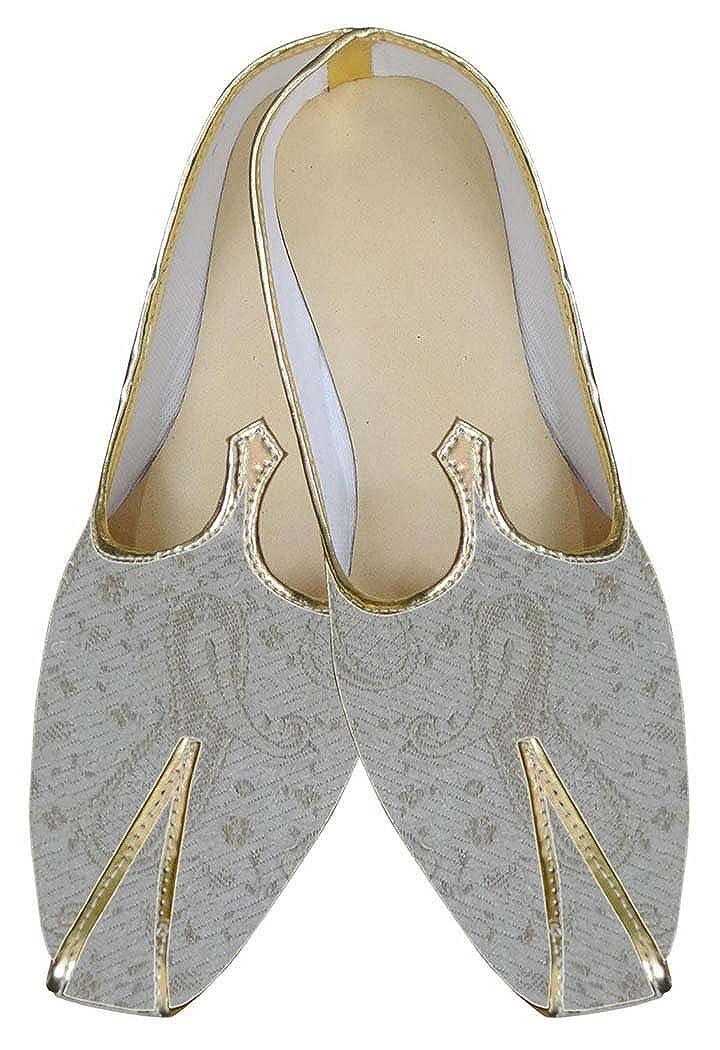 INMONARCH Mens Juti Natural Wedding Sherwani Shoes Paisley MJ0016