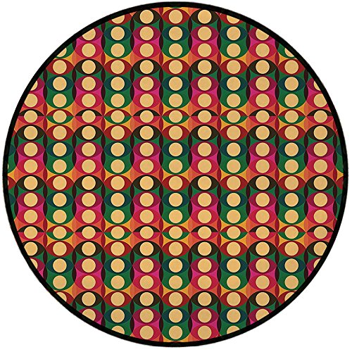 (Printing Round Rug,Retro,Pop Art Style Oval Geometric Figures with Inner Circles Pastel Toned Vintage Pattern Decorative Mat Non-Slip Soft Entrance Mat Door Floor Rug Area Rug For Chair Living)