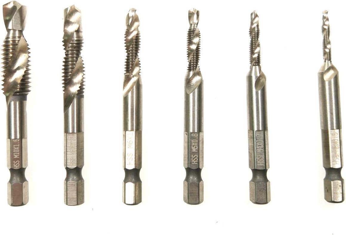 Supermotorparts 6PCS 1//4 Hex HSS Titanium Metric Spiral Screw Thread Tap Drill M3-M10