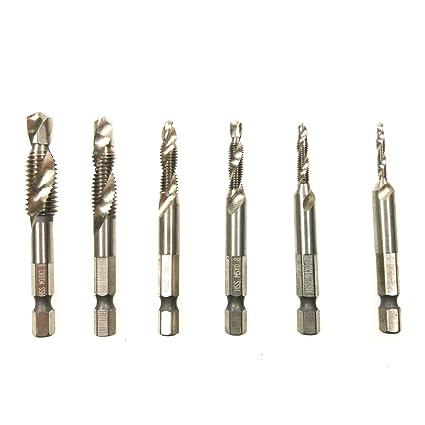 CAIDU 5pcs HSS 6542 Titanium Coated Spiral Flute Metric Taps Set M3 M4 M5 M6 M8