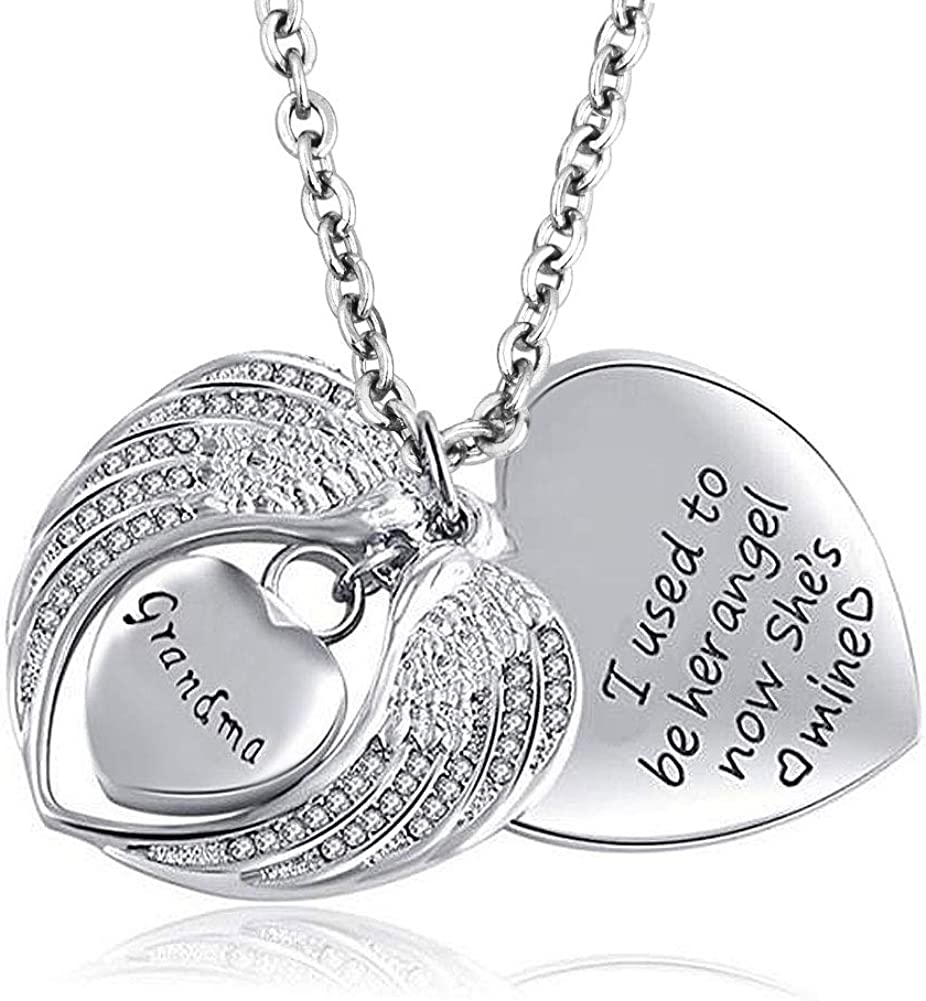 LovelyCharms Angel Wings Heart Urn Necklace for Ashes Stainless Steel Keepsake Memorial Cremation