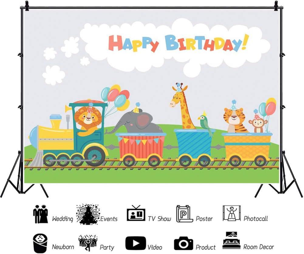 LFEEY 10x8ft Vinyl Happy Birthday Backdrop for Photography Cartoon Cute Animal on Train Elephant Lion Giraffe Funny Poster Photo Backdrop Baby Shower Kids Portrait Photography Decor Studio Booth Props