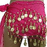 Pilot-trade Women's Chiffon Dangling Gold Coins Belly Dance Hip Skirt Scarf Wrap Belt Rose Red