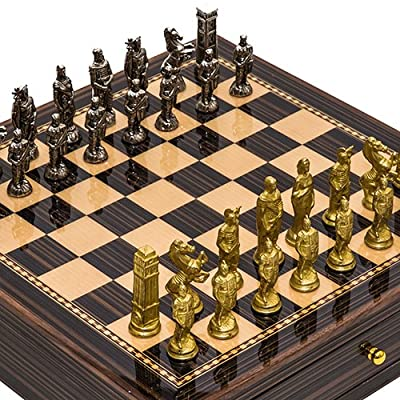 Lorenzini Chessmen from Italy & Seventh Avenue Maple & Walnut Chess Board/Cabinet with Two Drawers