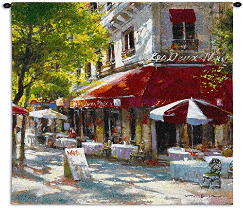 - Corner Cafe II by Brent Heighten | Woven Tapestry Wall Art Hanging | Parisian Street Scene | 100% Cotton USA Size 53x53