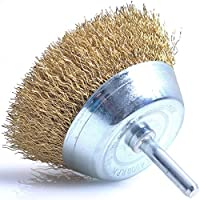 """Wire Cup Brush with Shank (HEAVY DUTY INDUSTRIAL STRENGTH) 3"""" Diameter with 1/4"""" Shank - Crimped Tempered Steel Bristles - Attaches to Most Power Drills to Clean & Scrub Surfaces"""