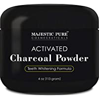 Activated Charcoal Teeth Whitening Powder by Majestic Pure - Natural Teeth Whitener with Coconut Charcoal, Non Abrasive, 4 oz
