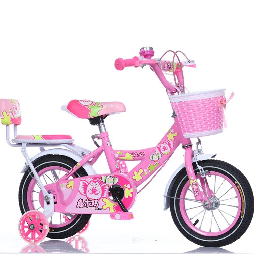 HAIZHEN マウンテンバイク ガレージバイク、バスケット、12,14,16,18インチの女の子用自転車、トレーニング用の車輪またはキックスタンド付き、子供向けのギフト、女の子の自転車 新生児 B07C41L2PJ 12 inch|ピンク ぴんく ピンク ぴんく 12 inch