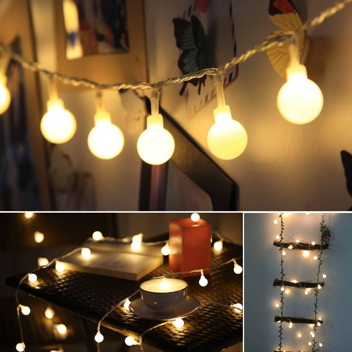 ALOVECO LED String Lights, 14.8ft 40 LED Waterproof Ball Lights, 8 Lighting Modes, Battery Powered Starry Fairy String Lights for Bedroom, Garden, Christmas Tree, Wedding, Party (Warm Light)
