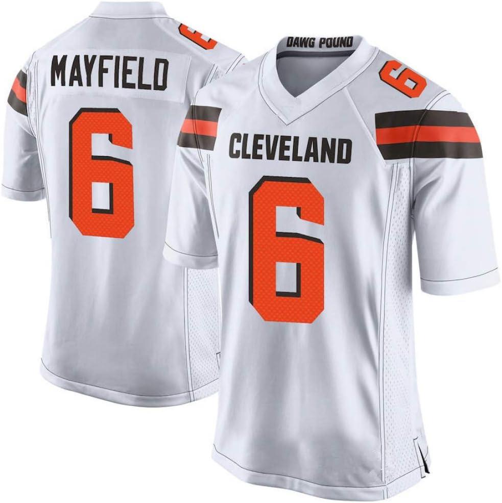 TTATT Men Football T-Shirt Jersey Cleveland Browns 6# Baker Mayfield Embroidered Football Sport Jersey Short Sleeve Top T-Shirt Jersey