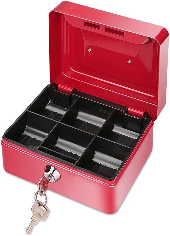 ONEVER Pequeño Banco de Dinero de Metal con Cerradura, Moneda Cash Caja Segura Hucha con 6 Compartimientos Bandeja de Dinero, Niños (Red): Amazon.es: Hogar