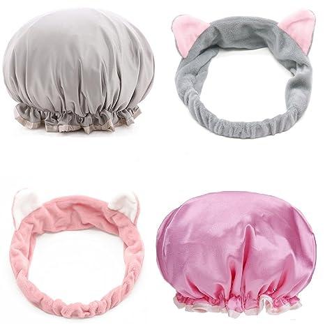 New York économies fantastiques vente de sortie Set de Douche 2 PCS Bonnet de Douche+2PCS Bandeau Cheveux Parfait pour Se  Maquiller/ Soins du Visage/se démaquiller/Prendre Douche sans vous Mouiller  ...