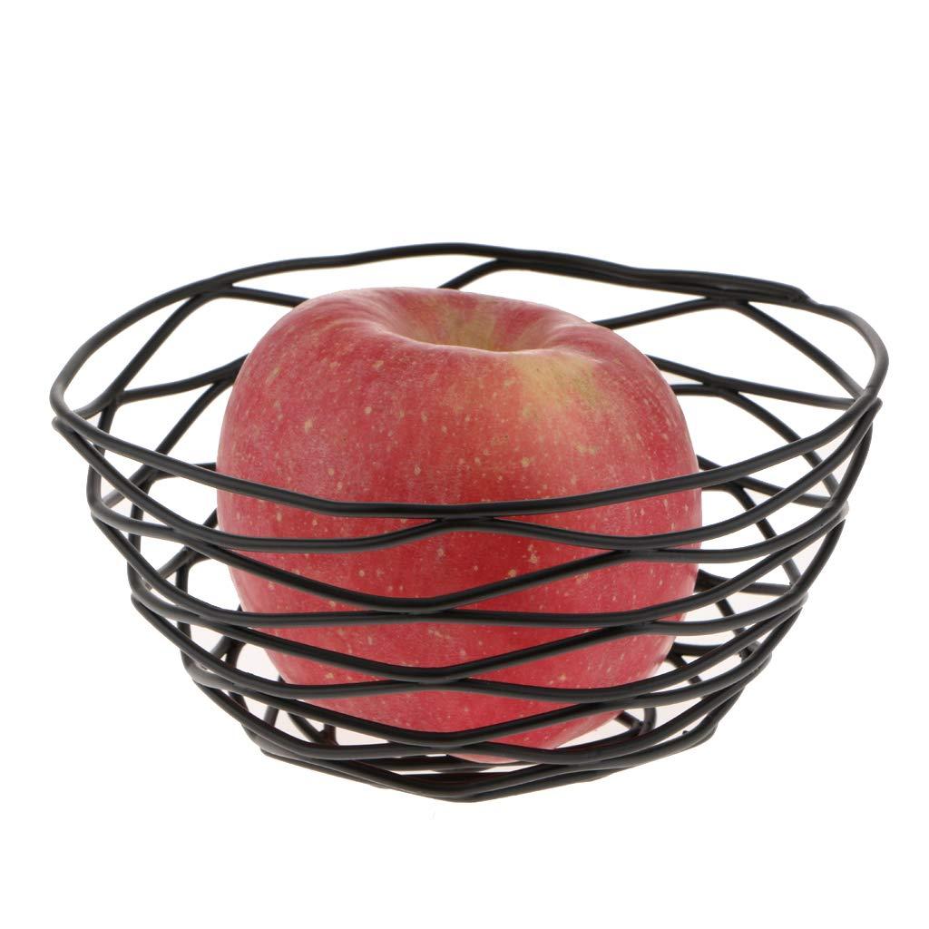 B Blesiya Metal Wire Storage Display Fruit Bread Vegetable Basket Bowl Iron Art Black as described