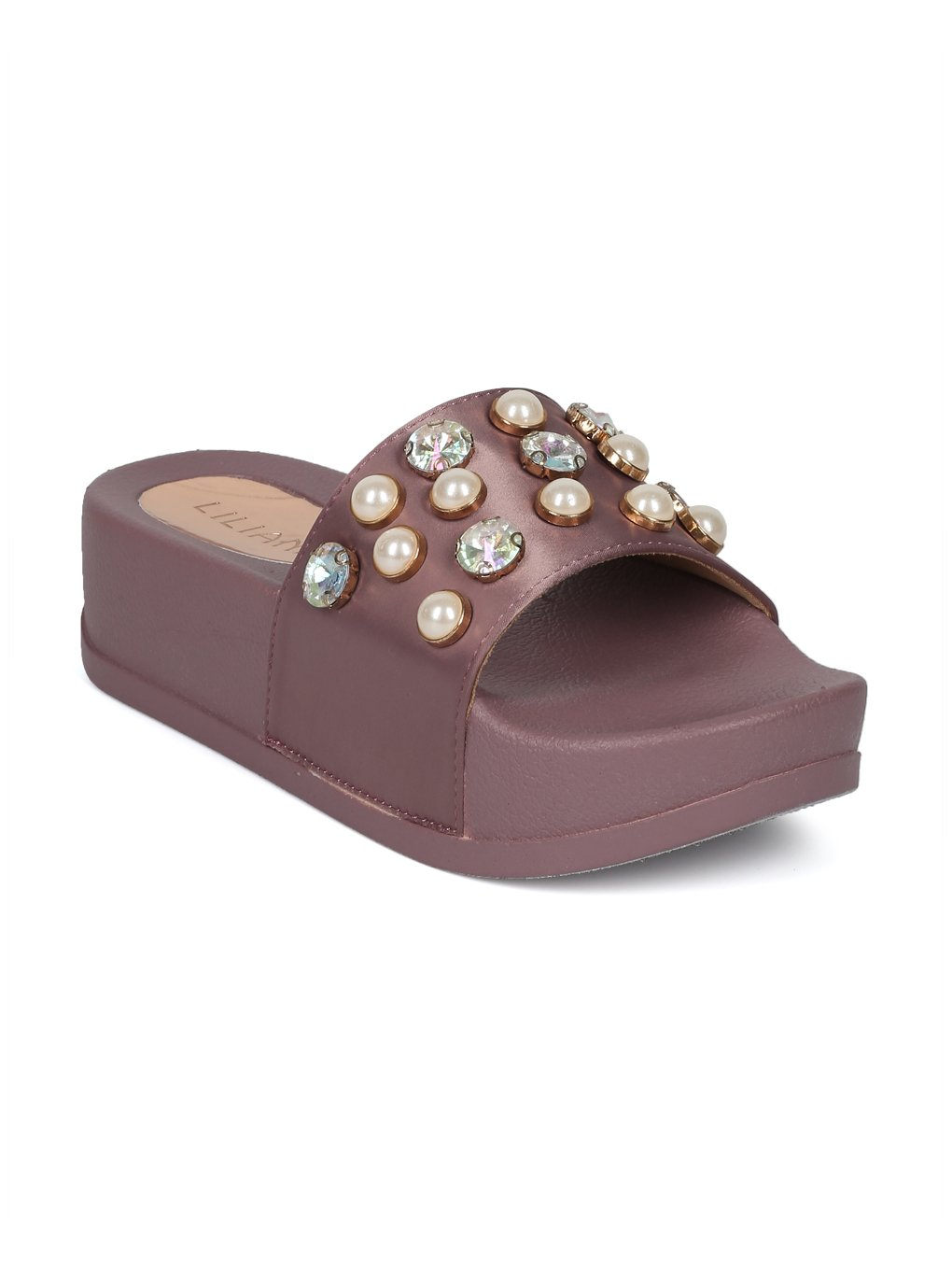 Alrisco Women Satin Faux Pearl and Gems Platform Footbed Slide HG26 B0799BTC5Z 7 M US|Mauve Satin