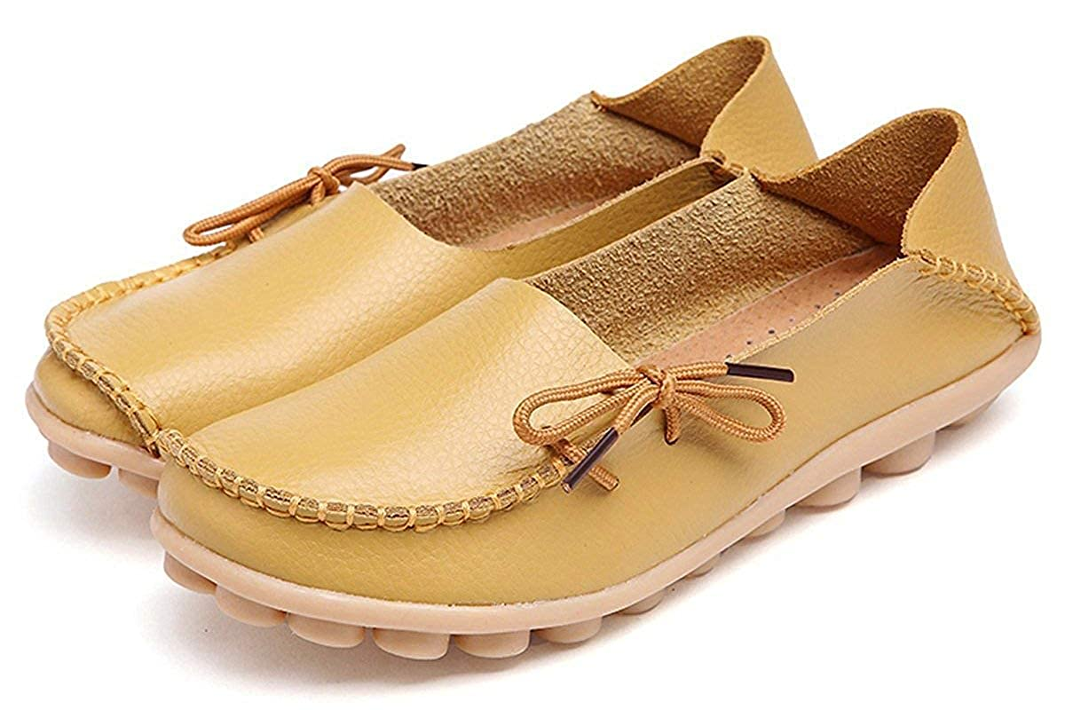 WYSBAOSHU Womens Leather Loafers Flats Slip On Moccasins Casual Driving Shoes