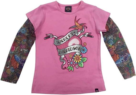 Kids Harley Davidson Toddler Girls Pink Tattoo Sleeve Shirt