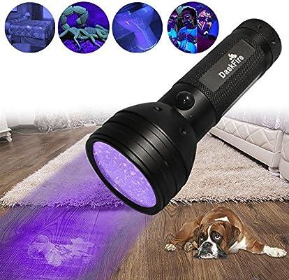 Luz negra, antorcha de linterna UV DaskFire 51 antorcha UV LED Mascotas detector de luz de orina para orina de perro, manchas de mascotas, ...