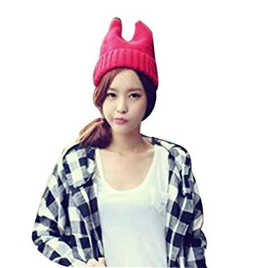 dcffc2ae1fa8d Rose Small Devil Angle Knit Cap Cat Ear Elastic Woolen Yarn Hat Winter Hat  Caps Korean Style at Amazon Women s Clothing store