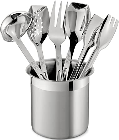 Beau Amazon.com: All Clad T236 Stainless Steel Cook And Serve Kitchen Tools Set  With Caddy, 6 Piece, Silver: Cooking Spoons: Kitchen U0026 Dining