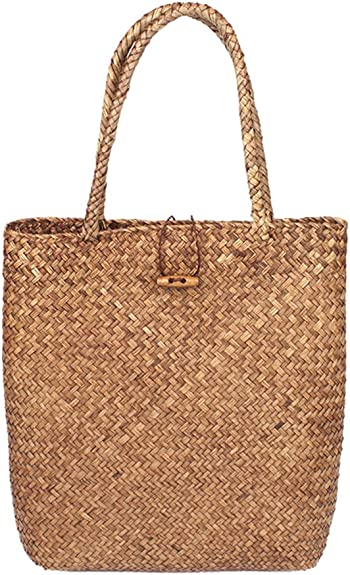 Handmade Straw Tote Bag Hand-woven Bag Summer Large Beach Bag Fashion Large Capacity Shopping Bags Natural Chic Seagrass Travel Handbag - Handmade Gifts for women 【 30 * 40cm, Kahki 】