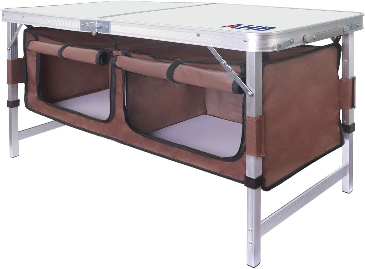 AHB Outdoor Folding Camp Table with Storage Organizer, Aluminum Lightweight Adjustable Picnic Table, Portable Foldable Table for Camping, Picnic, Outdoor