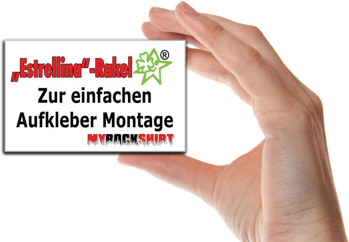 gedruckte Montageanleitung von myrockshirt/® Bonus Testaufkleber Estrellina-Gl/ückstern/® JEEP Totenkopf 20 cm Tuning Aufkleber Sticker Decal `