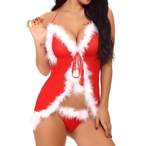 Longra ☂☂ Apasionada Noche 1 Conjunto de diseño de Navidad Mujeres Cuello en V Profundo