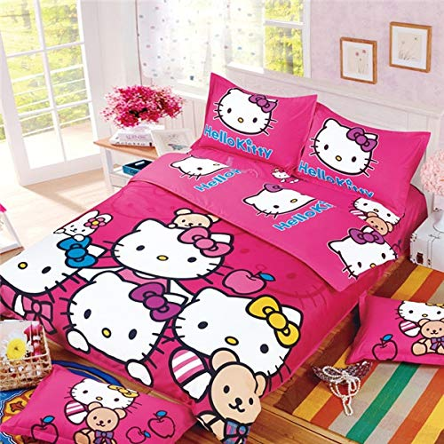 Olwen Shop 3D and Cartoon Duvet Cover Set - Home Textiles Cartoon Purple Hello Kitty Bed Linen for Children Quilt Duvet Cover Pillow Bedding Sets Twin Full Queen Size