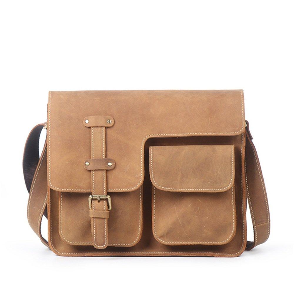 MLMHLMR Business Briefcase Casual Leather Bag Cross Section Shoulder Messenger Bag Mens Tide Bag Color : Dark Coffee Color 31x10x24cm Briefcase Retro//Black Brown