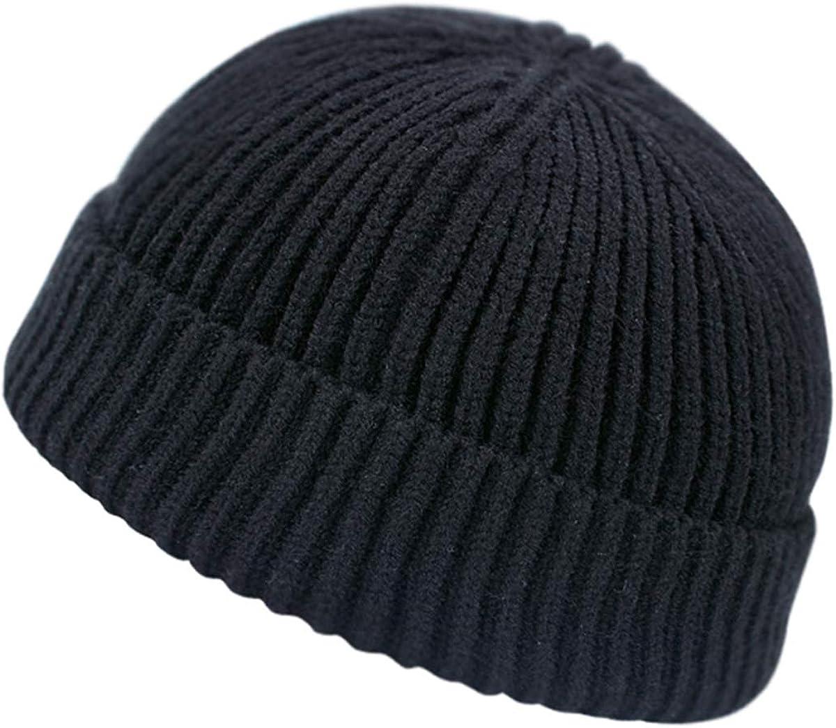 Unisex Rollup Edge Knit Skullcap Adjustable Short Beanie for Men Women