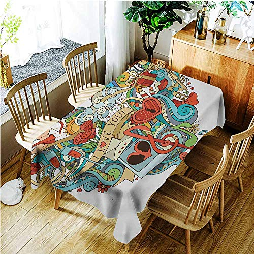 Anti-Fading Tablecloths,I Love You Love Valentines with Eros Arrow Present Boxes Swirls Balloons Ring Marry Me,Dinner Picnic Table Cloth Home Decoration,W60x120L,Multicolor ()