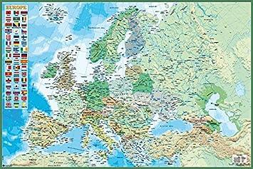 Close Up Mapa Político de Europa con Bandera de los países (91,5cm x 61cm): Amazon.es: Hogar