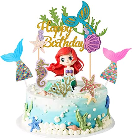 Mermaid Cake Topper Happy Birthday Cake Topper Glitter Under The Sea  Cupcake Toppers Birthday Cake Decoration Supplies (11 Pieces)