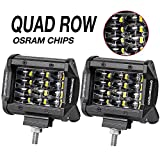 offroad quad - LED Pods, Offroad Town 2pcs 4'' QUAD Row LED Light Bar OSRAM Work Light Flood Beam Off road Driving Light Waterproof Fog lights LED Cubes for Truck Jeep Boat Car