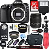 Canon EOS 80D 24.2 MP Digital SLR Camera with Sigma 18-250mm Lens + 64GB Memory & Flash Bundle