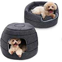 PAWZ Road 2-in-1 Cat Bed Grey, Cozy Puppy Igloo Kitten Hut for Cats and Small Dogs with Removable Pad, Offers Privacy and Warmth for Better Sleep