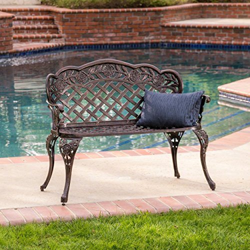Great Deal Furniture Santa Fe Cast Aluminum Garden Bench For Sale
