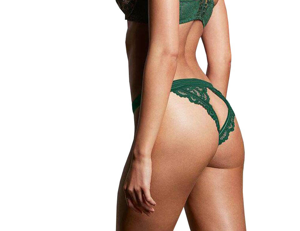 Victorias Secrets Green Crochet Peek a Boo Cheekini Large