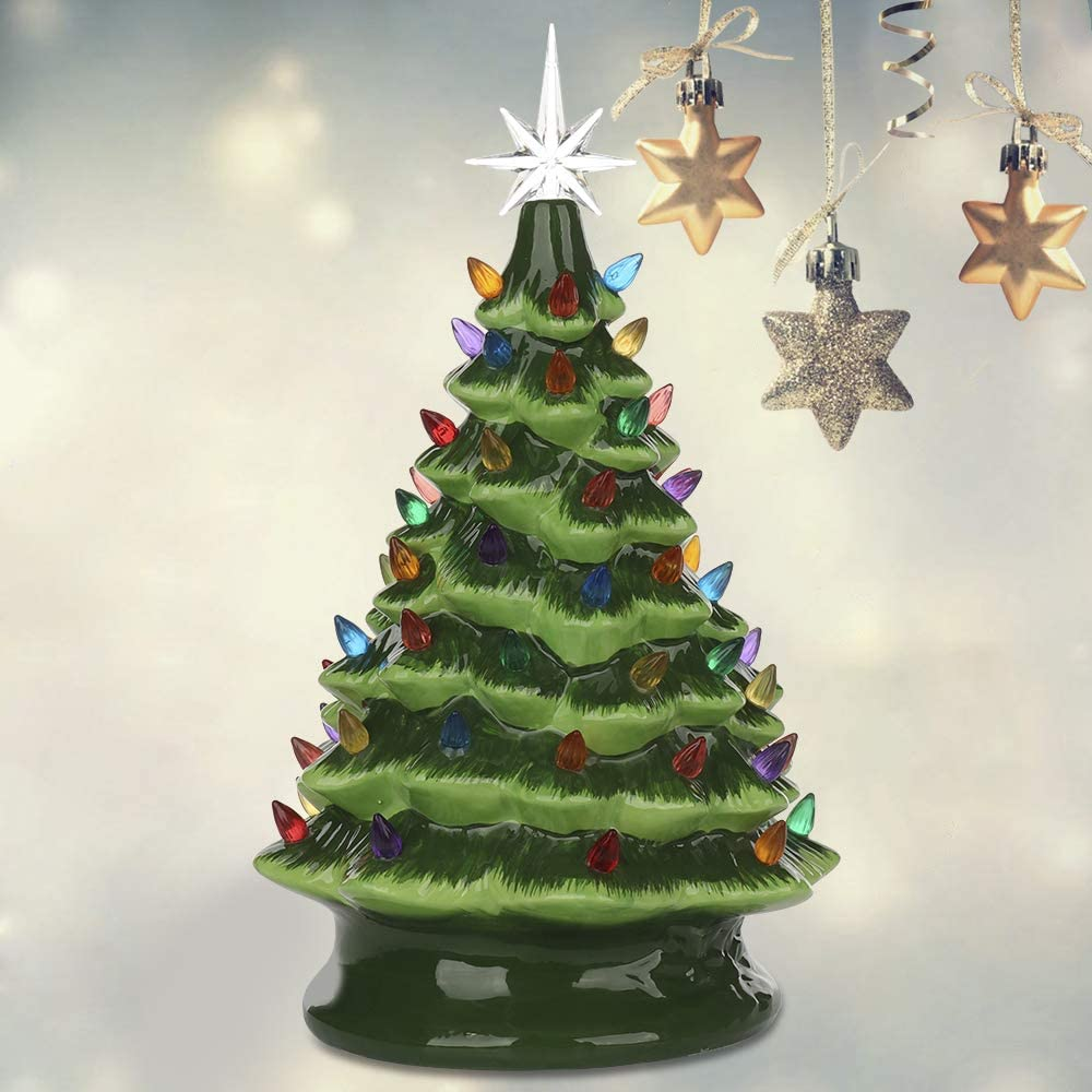 Ceramic Christmas Tree Plastic Bulb Replacement Tree Bulbs SAIrch 50pcs Ceramic Christmas Tree Plastic Light up Twist//Accessories Small Twist Pin Multi Color Christmas Tree Ornaments