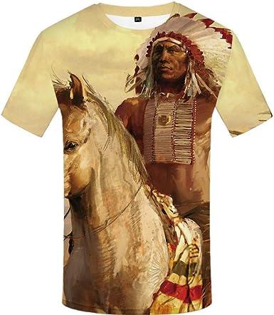 Camiseta India De Gran Tamaño Hombre Camisa De Impresión Digital 3D White Horse Cuello Redondo Casual Manga Corta XXL: Amazon.es: Ropa y accesorios
