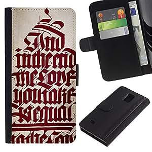 All Phone Most Case / Oferta Especial Cáscara Funda de cuero Monedero Cubierta de proteccion Caso / Wallet Case for Samsung Galaxy Note 4 IV // biblia texto caligrafía roja cita medieval