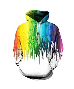 Trackstar Unisex Realistic 3D Galaxy Printed Big Pockets Drawstring Pullover Hoodie Hooded Sweatshirt (Painted, XXL/XXXL)