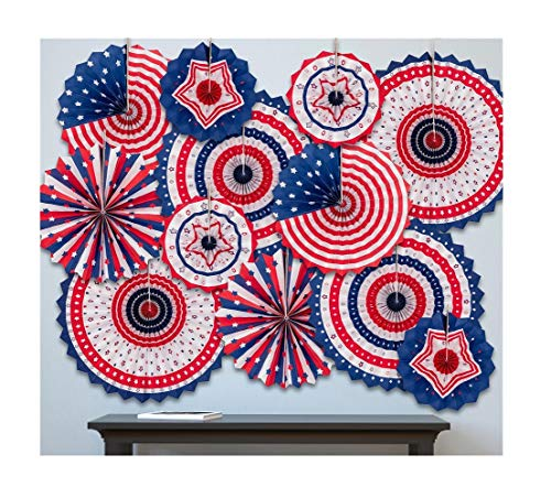 (jollylife 4th/Fourth of July Patriotic Decorations - Red White Blue Hanging Paper Fans Party Decor Supplies)
