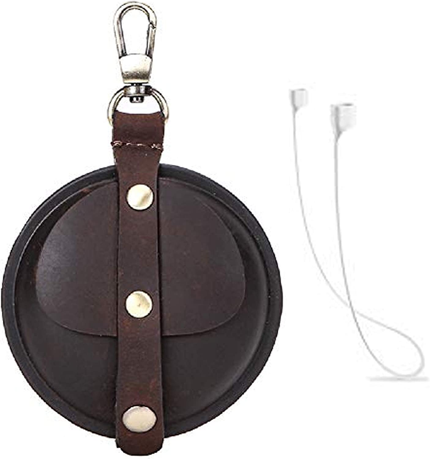 Case Cover for Airpods Pro with Silicone Anti-Lost Rope Clamshell Crazy Horse Genuine Leather Round Portable Shockproof Protective Earbud Sleeve with Keychain for Apple Airpods Pro 3 2019,A