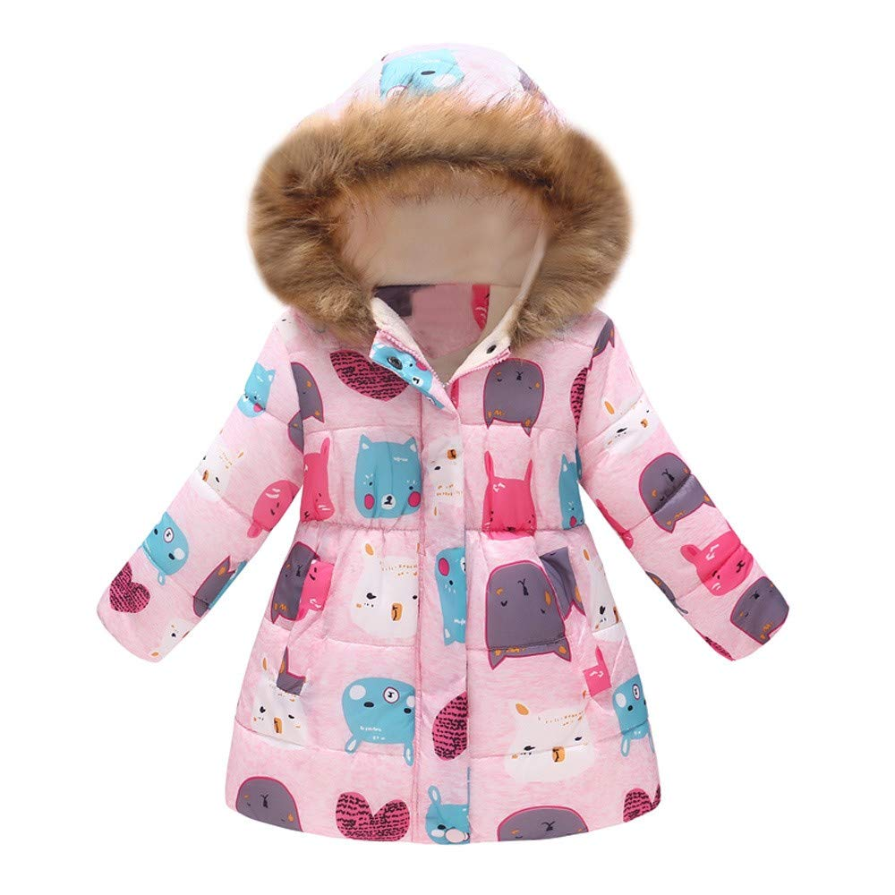 Baby Girls Floral Pattern Hooded Snowsuit Winter Warm Light Fur Collar Hooded Down Windproof Thick Jacket Outerwear