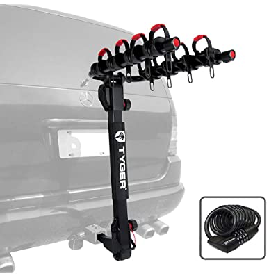 Tyger Auto TG-RK4B102B Deluxe 4-Bike Carrier Rack Fits Both 1-1/4'' and 2'' Hitch Receiver | with Hitch Pin Lock & Cable Lock | Soft Cushion Protector: Automotive