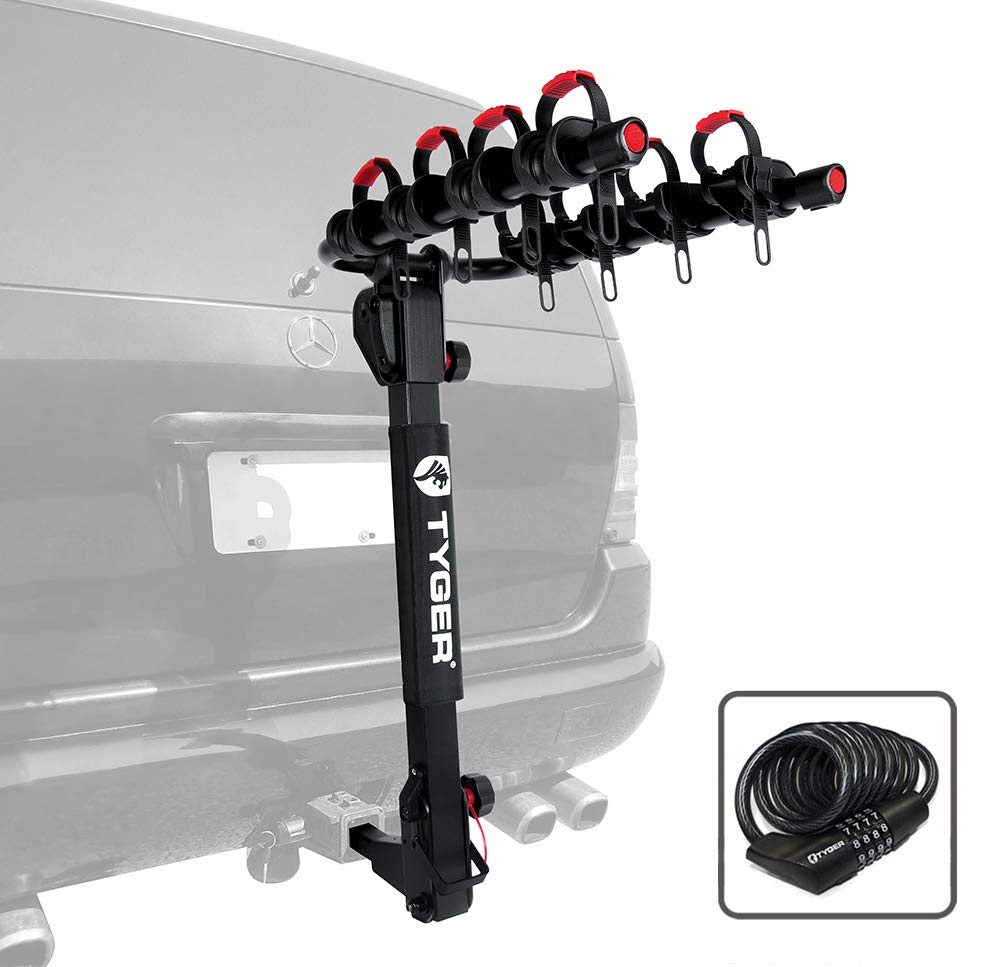 Tyger Auto TG-RK4B102B Deluxe 4-Bike Carrier Rack Fits Both 1-1 4 and 2 Hitch Receiver with Hitch Pin Lock Cable Lock Soft Cushion Protector
