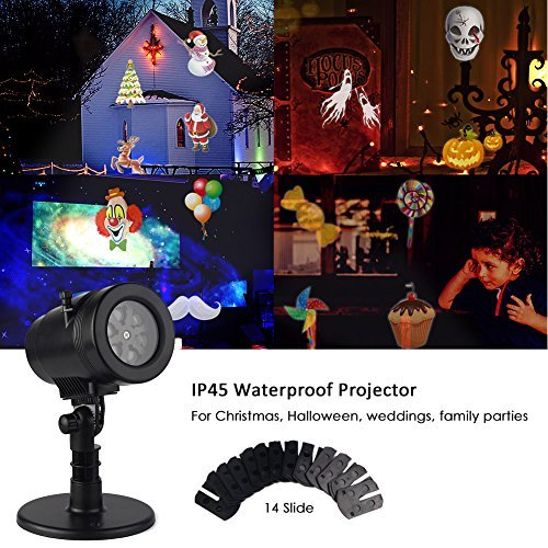 Waterproof Rotating Projector Lights 14 Pattern LED Moving Projector Landscape Stage Light Indoor Outdoor Decoration for Valentine's Day New Year Birthday Party Prom Dance -
