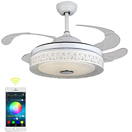 Moerun 42 Inch Ceiling Fans Light With Remote Control Mobile Bluetooth Speaker Modern Led Fan Pendant Lighting White Com