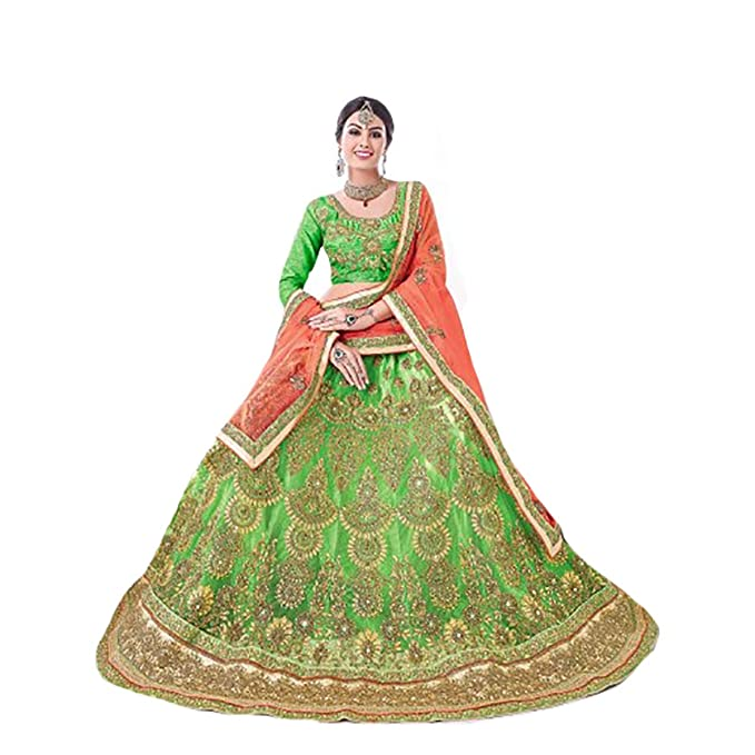 Amazon.com: Falda Lehenga Choli Dupatta para novia, diseño ...